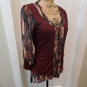 BKE Boutique button down blouse size small